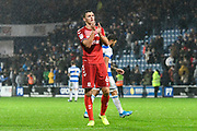 Dael Fry (6) of Middlesbrough applauds the travelling fans at full time during the EFL Sky Bet Championship match between Queens Park Rangers and Middlesbrough at the Kiyan Prince Foundation Stadium, London, England on 9 November 2019.