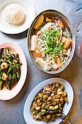 Steamed pomfret, wing bean salad and La-la at Teksen Restaurant.