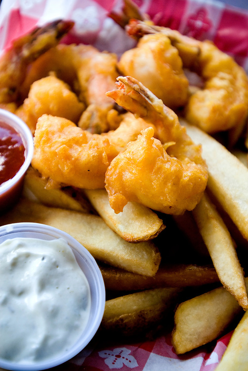 Travel story about Fort Lauderdale, Florida.Fried shrimp and french fries..Photographer: Chris Maluszynski /MOMENT