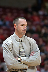 26 February 2006:  Bluejay coach Jim Flanery displays a look of concern.....Illinois State Redbirds out muscled the Creighton Bluejays on Senior day by a score of 75-61.  Senior Holly Hallstorm grabbed her 10th double double with 20 points and 12 rebounds.  Competition took place at Redbird Arena on Illinois State University campus in Normal Illinois.