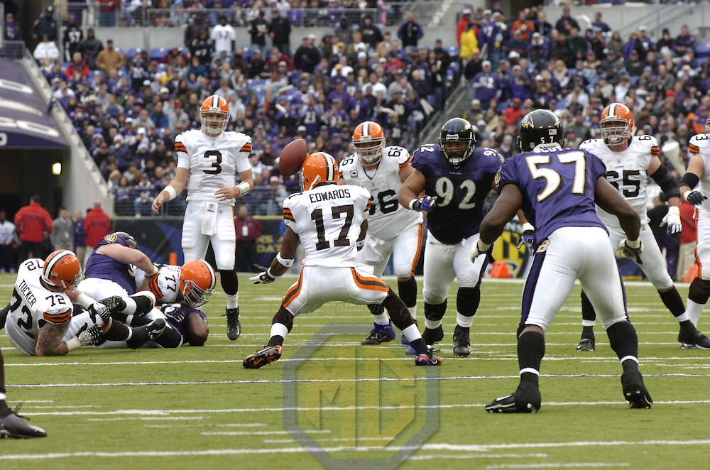 18 November 2007:  Cleveland Browns wide receiver Braylon Edwards (17) bobbles a pass from quarterback Derek Anderson (3) before catching it for a short gain against the Baltimore Ravens on November 18, 2007 at M&T Bank Stadium in Baltimore, Maryland. The Ravens were sent to their 4th consecutive loss with a 33-30 overtime time win by the Browns..