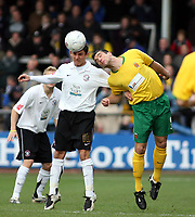 Photo: Mark Stephenson/Sportsbeat Images.<br /> Hereford United v Hartlepool United. The FA Cup. 01/12/2007.Hereford's Kris Taylor wins the ball
