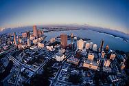 Vintage aerial Miami Skyline circa 1985