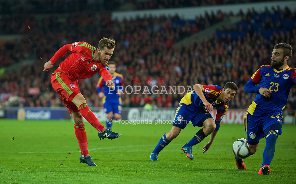 CARDIFF, WALES - Tuesday, October 13, 2015: Wales' Aaron Ramsey in action against Andorra during the UEFA Euro 2016 qualifying Group B match at the Cardiff City Stadium. (Pic by Ian Cook/Propaganda)