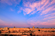 Jerusalem's Temple Mount and Jewish Quarter at Sunrise, viewed from the East. WATERMARKS WILL NOT APPEAR ON PRINTS OR LICENSED IMAGES.