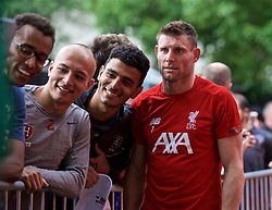 BOSTON, MASSACHUSETTS, USA - Monday, July 22, 2019: Liverpool's James Milner with supporters after a training session at Ohiri Field near Harvard Stadium on day seven of the club's pre-season tour of America. (Pic by David Rawcliffe/Propaganda)