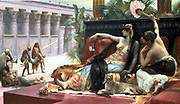 Cleopatra testing poisons on those condemned to death'.  The Ptolemaic dynasty in Egypt which ended with Cleopatra VII, was founded by Alexander the Great's general Ptolemy whose portion of the empire divided after Alexander's death included Egypt. Lawrence Alma-Tadema (1836 -1912) Dutch-born English painter. Classical genre. Oil on canvas.