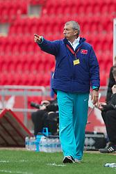 LLANELLI, WALES - Thursday, March 31, 2011: Turkey's head coach Nur Mustafa Gu?len during the UEFA European Women's Under-19 Championship Second Qualifying Round (Group 3) match against Iceland at Parc Y Scarlets. (Photo by David Rawcliffe/Propaganda)