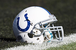 December 26, 2010; Oakland, CA, USA;  An Indianapolis Colts helmet sits on the field before the game against the Oakland Raiders at Oakland-Alameda County Coliseum.