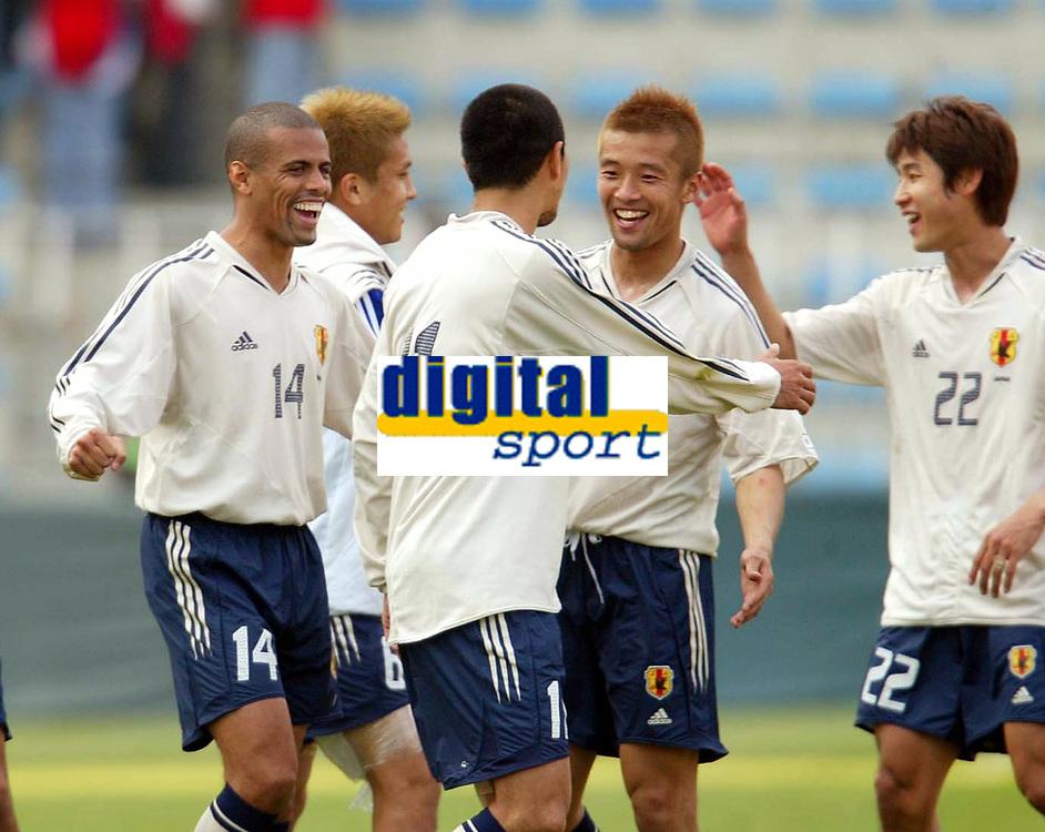 Fotball<br /> Treningskamp<br /> Tsjekkia v Japan<br /> 28. april 2004<br /> Foto: Digitalsport<br /> NORWAY ONLY<br /> <br /> Japan jubler for mål. Alessandro SANTOS 14, Junichi INAMOTO, Tatsuhuki KUBO 11, Takayuku Chano 5, Makoto TANAKA