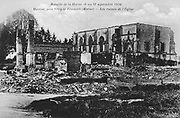 World War I 1914-1918: Aftermath of the First Battle of the Marne, near Paris, France, 5-12 September 1914 - Ruins of the church at Huiron, near Vitry-le-Francois. The battle was a Allied strategic  victory.