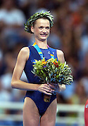 Svetlana Khorkina (RUS) wins silver.<br />