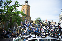 Cervélo-Bigla Cycling Team team bikes are ready before the Aviva Women's Tour 2016 - Stage 5. A 113.2 km road race from Northampton to Kettering, UK on June 19th 2016.