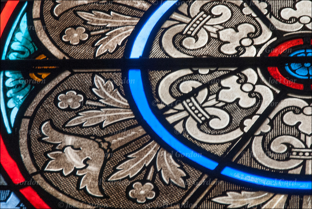 Details of church stained glass window
