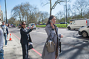 LYNN ROTHMAN; NATALIE KREMEN, Leaving The Seventh Annual Foreign Sisters Lunch in aid of Cancer Research UK. . The Dorchester 53 Park Lane. London. 1 May 2013.