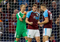 BURNLEY, ENGLAND - Thursday, August 16, 2018: Burnley's goalkeeper Joe Hart celebrates after his side's 1-0 extra-time victory during the UEFA Europa League Third Qualifying Round 2nd Leg match between Burnley FC and İstanbul Başakşehir at Turf Moor. (Pic by David Rawcliffe/Propaganda)