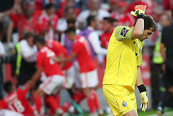 October 7, 2018 - Lisbon, Portugal - Porto's Spanish goalkeeper Iker Casillas reacts after Benfica's Suisse forward Haris Seferovic scores during the Portuguese League football match SL Benfica vs FC Porto at the Luz stadium in Lisbon on October 7, 2018. (Credit Image: © Pedro Fiuza/ZUMA Wire)