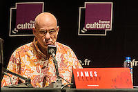 LYON, FRANCE - APRIL 04: American writer of black novels and thrillers James Ellroy speaks during the 10th 'Quai du Polar' literary festival on April 4, 2014 in Lyon, France. (Photo by Bruno Vigneron/Getty Images)