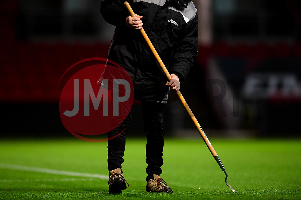 Groundsman tends to pitch - Mandatory by-line: Ryan Hiscott/JMP - 17/02/2020 - FOOTBALL - Ashton Gate Stadium - Bristol, England - Bristol City Women v Everton Women - Women's FA Cup fifth round