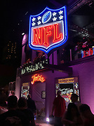 Apr 24, 2019; Nashville, TN, USA; General overall view of neon NFL shield logo at the Tootsies Orchid Lounce at 422 Broadway prior to the 2019 NFL Draft.