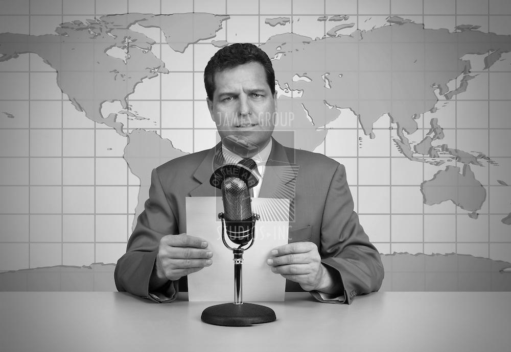 1950's era TV news anchor reading the news