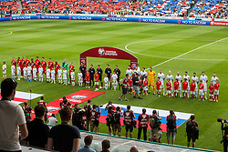 National teams of Slovenian and England during opening ceremony of the EURO 2016 Qualifier Group E match between Slovenia and England at SRC Stozice on June 14, 2015 in Ljubljana, Slovenia. Photo by Grega Valancic