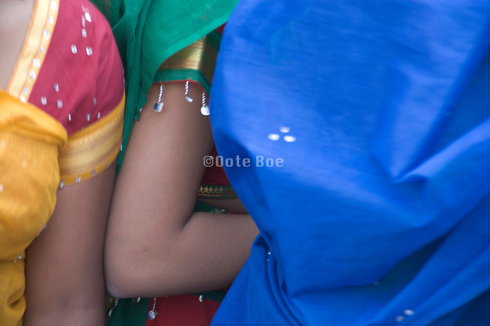 extreme close up of Indian girls in traditional dress