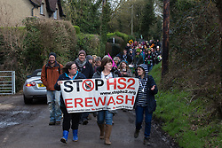 Uxbridge, UK. 1 February, 2020. Environmental activists from Stop HS2, Save the Colne Valley and Extinction Rebellion campaigning against the controversial HS2 high-speed rail link begin a 'Still Standing for the Trees' march from the Harvil Road wildlife protection camp in Harefield through Denham Country Park to three addresses closely linked to Boris Johnson in his Uxbridge constituency. The Prime Minister is expected to make a decision imminently as to whether to proceed with the high-speed rail line.
