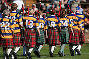 A pipe band leave the field after playing pre match before the Air New Zealand Cup rugby match between Waikato and Bay of Plenty won by BOP 32-16 at Bay Park Stadium, Tauranga, New Zealand, Saturday 22 August 2009. Photo: Stephen Barker/PHOTOSPORT