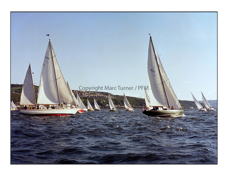 The Clyde Cruising Club's 1977 Tomatin Trophy the first Scottish Series held at Tarbert Loch Fyne.  An overnight race from Gourock to Campbeltown then on to Olympic Triangles in Loch Fyne. ..OYC 5, Taikoo and 180C Eilidh at the start of the offshore at Gourock.