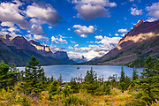 Saint Mary Lake and Wild Goose Island, Glacier National Park, Montana USA