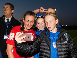 Jodie Brett of Bristol City Women poses for a selfie with supporters from sister club Cardiff Bluebelles FC - Mandatory by-line: Paul Knight/JMP - 09/05/2017 - FOOTBALL - Stoke Gifford Stadium - Bristol, England - Bristol City Women v Manchester City Women - FA Women's Super League Spring Series