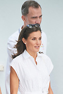 King Felipe VI of Spain, Queen Letizia of Spain is seen at Real Club Nautico during 38th Copa del Rey Mapfre Sailing Cup - Day 4 on August 1, 2019 in Palma, Spain