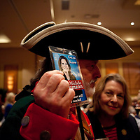 ORLANDO, FL -- September 22, 2011 -- Tea Partier William Temple of New Brunswick, Georgia, shows off his support of Michele Bachmann during the Florida P5 Faith and Freedom Coalition Kick-Off at the Rosen Centre Hotel in Orlando, Fla., on Thursday, September 22, 2011.  Nine Republican presidential candidates congregated for a Fox News / Google Debate.   (Chip Litherland for The New York Times)