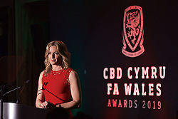 CARDIFF, WALES - Thursday, March 21, 2019: Gabby Logan hosts the Football Association of Wales Awards 2019 at the Hensol Castle. (Pic by David Rawcliffe/Propaganda)