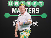 Peter Wright (England) wins a leg during the 2015 Unibet Masters at the Arena MK, Milton Keynes, United Kingdom on 1 February 2015. Photo by Phil Duncan.