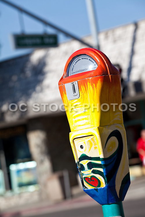 Painted Parking Meter For The Homeless In Laguna Beach California