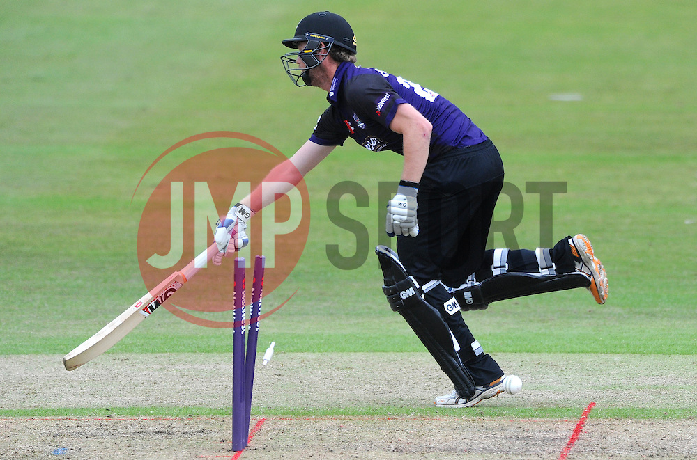 Ian Cockbain of Gloucestershire is run out by Adam Wheater of Hampshire for 10  - Photo mandatory by-line: Dougie Allward/JMP - Mobile: 07966 386802 - 14/07/2015 - SPORT - Cricket - Cheltenham - Cheltenham College - Natwest T20 Blast