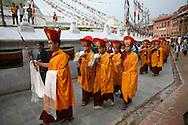 Buddhist monk in a monastry in Nepal