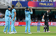 Wicket - Eoin Morgan of England reviews the wicket of Kane Williamson of New Zealand after it was originally given not out during the ICC Cricket World Cup 2019 Final match between New Zealand and England at Lord's Cricket Ground, St John's Wood, United Kingdom on 14 July 2019.