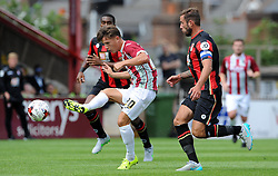 Exeter City's Tom Nicholls goes close. - Photo mandatory by-line: Harry Trump/JMP - Mobile: 07966 386802 - 18/07/15 - SPORT - FOOTBALL - Pre Season Fixture - Exeter City v Bournemouth - St James Park, Exeter, England.