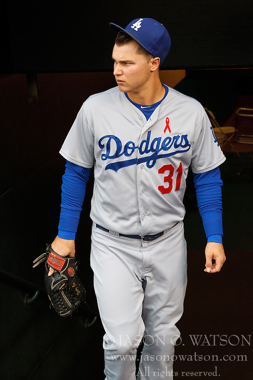 SAN FRANCISCO, CA - MAY 20:  Joc Pederson #31 of the Los Angeles Dodgers enters the dugout before the game against the San Francisco Giants at AT&T Park on May 20, 2015 in San Francisco, California.  The San Francisco Giants defeated the Los Angeles Dodgers 4-0. (Photo by Jason O. Watson/Getty Images) *** Local Caption *** Joc Pederson