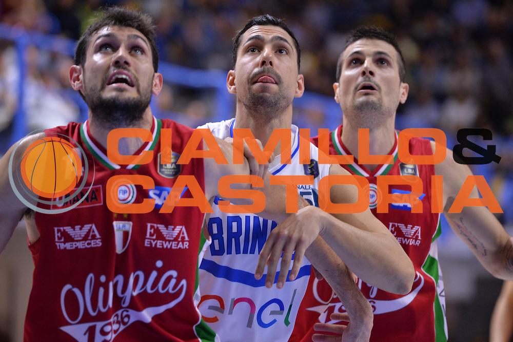 Pascolo Davide, Marco Cardillo, Cinciarini Andrea<br /> Enel Brindisi - EA7 Emporio Armani Milano<br /> BASKET Serie A 2016-2017<br /> Brindisi 15/04/2017<br /> FOTO CIAMILLO / M.Longo