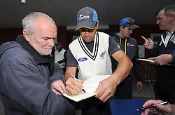 New Zealand's Ross Taylor is mobbed by supporters wanting to get his autograph. - Photo mandatory by-line: Harry Trump/JMP - Mobile: 07966 386802 - 07/05/15 - SPORT - CRICKET - New Zealand Training - The County Ground, Taunton, England.