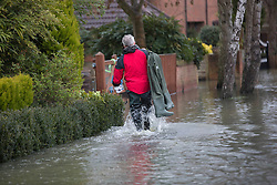 A resident walks through the floods in Purley on Thames, Reading, United Kingdom, Tuesday, 11th February 2014. Picture by i-Images