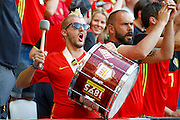 Belgium fan beats his drum before the Euro 2016 match between Sweden and Belgium at Stade de Nice, Nice, France on 22 June 2016. Photo by Andy Walter.