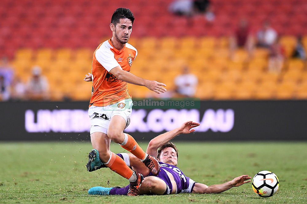 January 18, 2018 - Brisbane, QUEENSLAND, AUSTRALIA - Connor O'Toole of the Roar (#24, left) is tackled by Chris Harold of the Glory (#14) during the round seventeen Hyundai A-League match between the Brisbane Roar and the Perth Glory at Suncorp Stadium on January 18, 2018 in Brisbane, Australia. (Credit Image: © Albert Perez via ZUMA Wire)