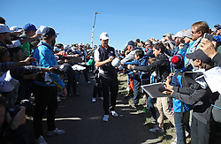 Team Europe's Justin Rose signs autographs during preview day three of the Ryder Cup at Le Golf National, Saint-Quentin-en-Yvelines, Paris. PRESS ASSOCIATION Photo. Picture date: Wednesday September 26, 2018. See PA story GOLF Ryder. Photo credit should read: Adam Davy/PA Wire. RESTRICTIONS: Editorial use only. No commercial use.