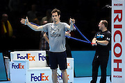 Andy Murray warms up before the ATP World Tour Finals at the O2 Arena, London, United Kingdom on 20 November 2015. Photo by Phil Duncan.