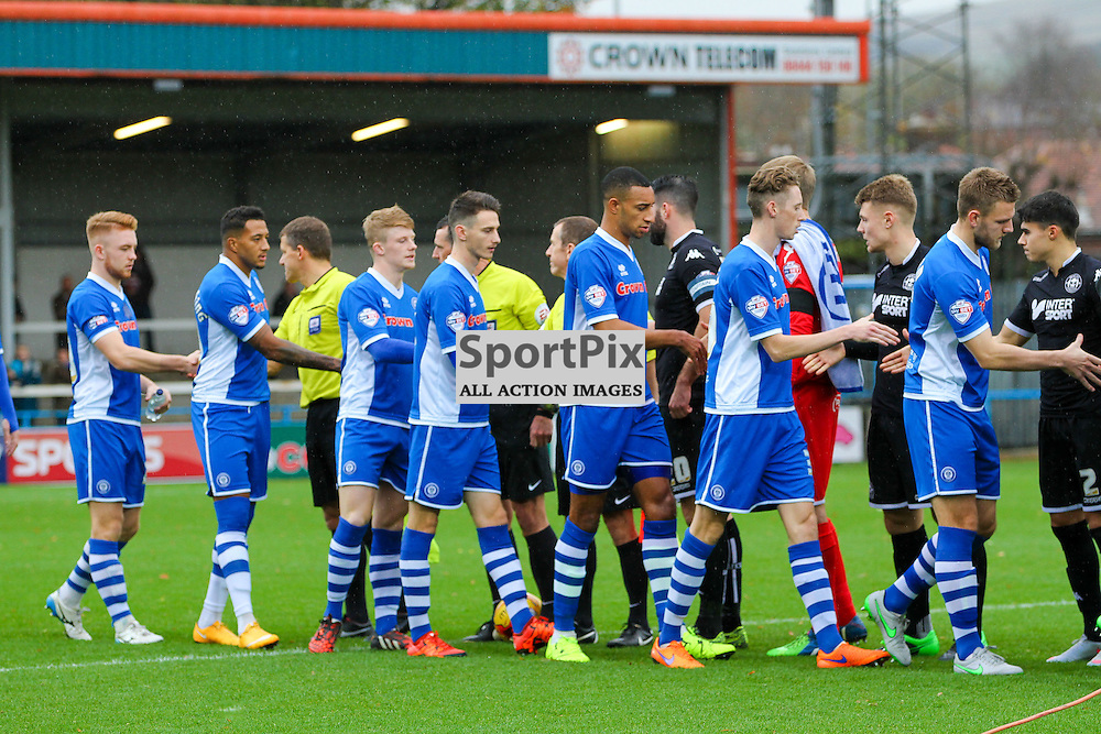 The Rochdale players shake hands with the Officials and the Wigan Athletic players before the Rochdale v Wigan Athletic , Sky Bet League One Match, 14 November 2015<br /> Picture by Jackie Meredith/SportPix.org.uk